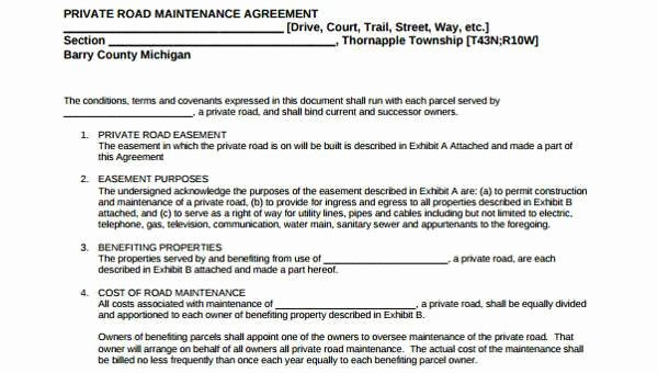 Sample Driveway Easement Agreement Inspirational Sample Road Maintenance Agreement forms 6 Free