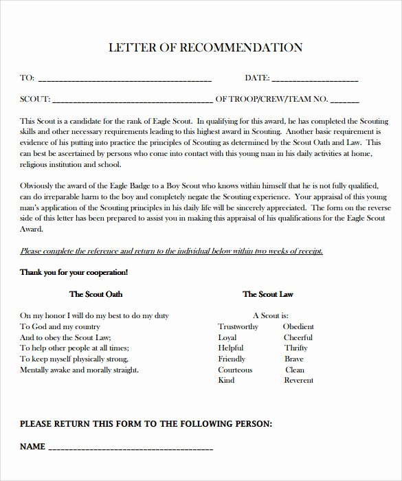 Sample Eagle Scout Recommendation Letter Elegant 10 Eagle Scout Letter Of Re Mendation to Download for