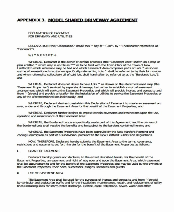 Sample Easement Agreement Awesome 6 Driveway Easement Agreement form Samples Free Sample