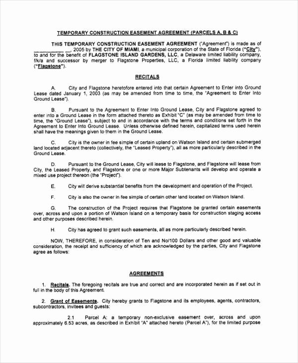 Sample Easement Agreement Beautiful 9 Construction Agreement form Samples Free Sample