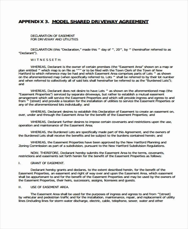 Sample Easement Agreement Beautiful D Driveway Agreement – Kevindray