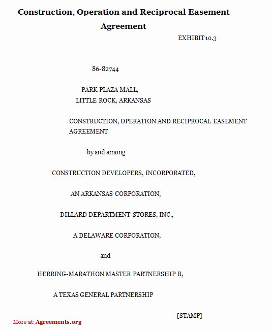 Sample Easement Agreement Elegant Construction Operation and Reciprocal Easement Agreement