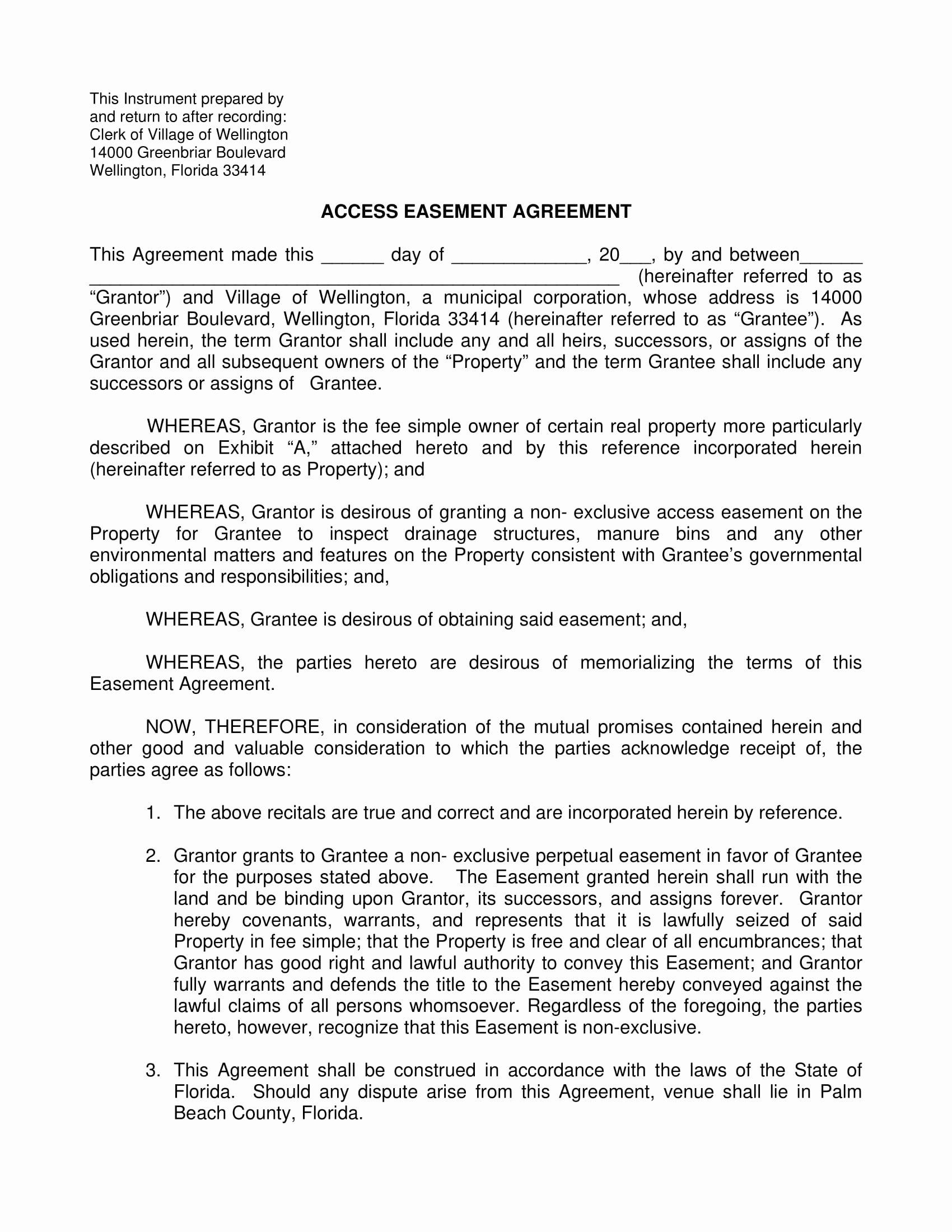 Sample Easement Agreement Unique 10 Easement Agreement Contract forms Pdf