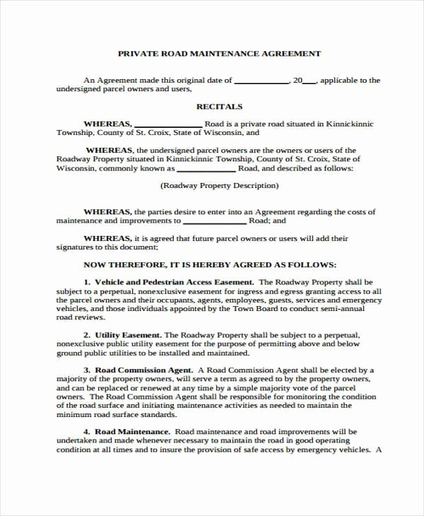 Sample Easement Agreement Unique Sample Road Maintenance Agreement forms 6 Free