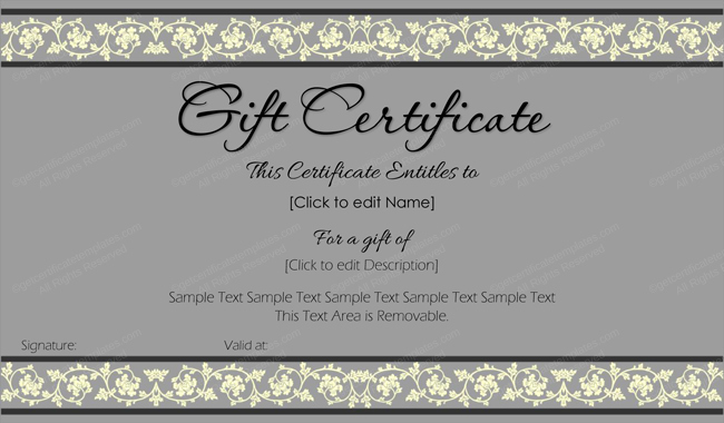 Sample Gift Certificate Wording Best Of Beauty In Gray Gift Certificate Template Get Certificate