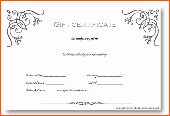 Sample Gift Certificate Wording Lovely Gift Certificate Template Word