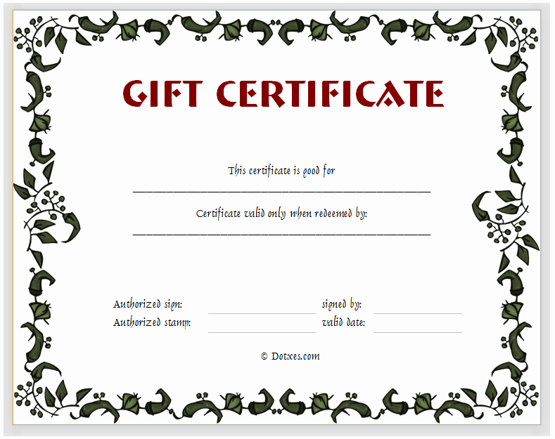 Sample Gift Certificate Wording New 15 Fill In the Blank Certificate Templates