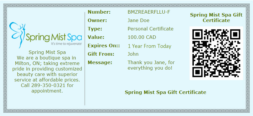 Sample Gift Certificate Wording New Gift Cards Line Milton Spa