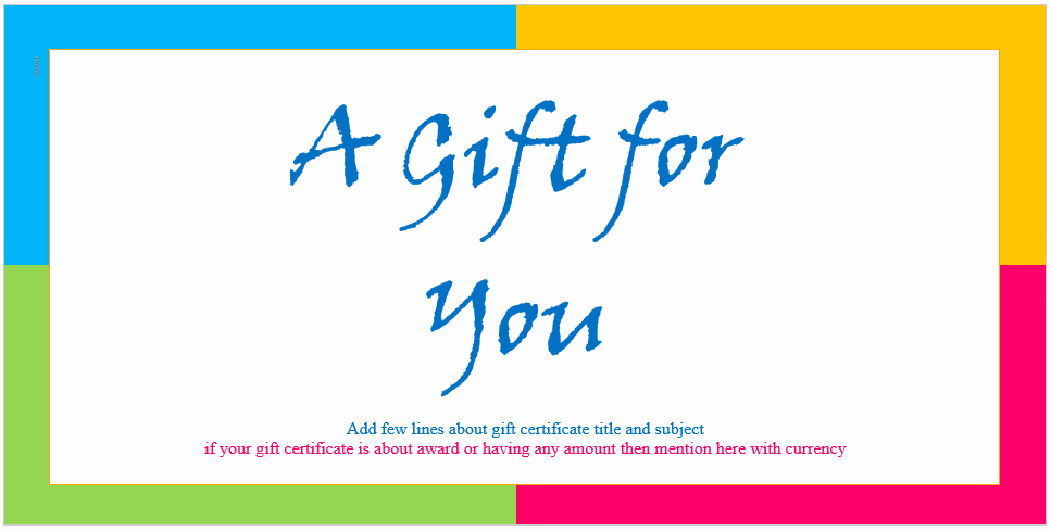 Sample Gift Certificate Wording Unique Custom Gift Certificate Templates for Microsoft Word