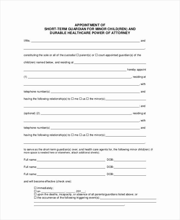Sample Guardianship Letter In Case Of Death Fresh Guardianship forms 9 Free Pdf Word