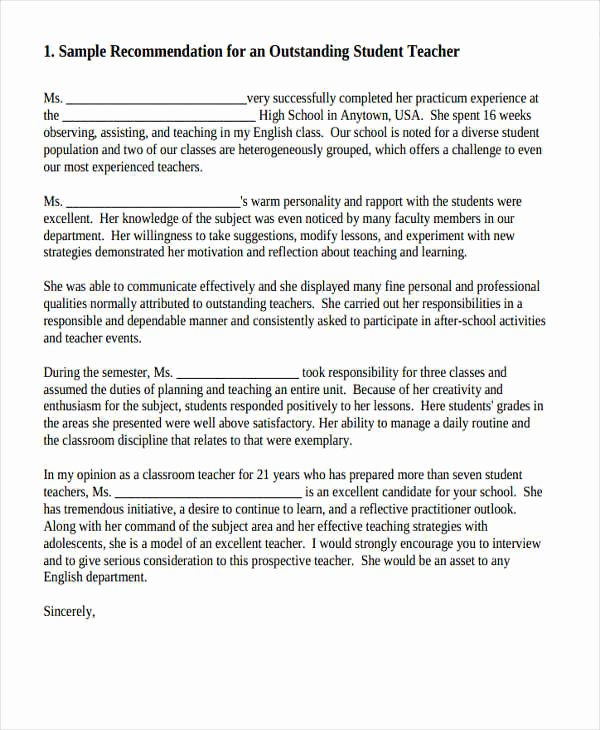Sample High School Recommendation Letter Beautiful 11 High School Re Mendation Letter Template 10 Free