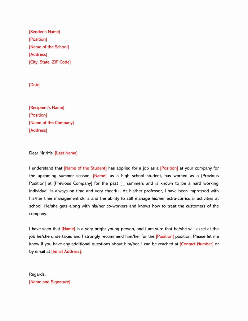 Sample High School Recommendation Letter Lovely High School Re Mendation Letter 12 Sample Letters