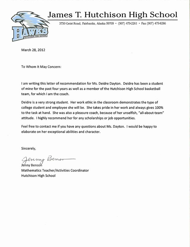 Sample High School Recommendation Letter Luxury Letter Re Mendation for Iata
