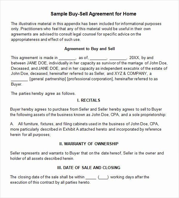 Sample Home Buyout Agreement Elegant 18 Sample Buy Sell Agreement Templates Word Pdf Pages