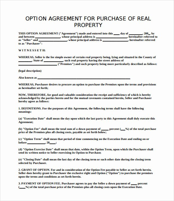 Sample Home Buyout Agreement Inspirational 8 Sample Property Purchase Agreements