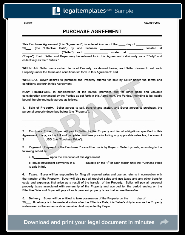 Sample Home Buyout Agreement New Purchase Agreement Template