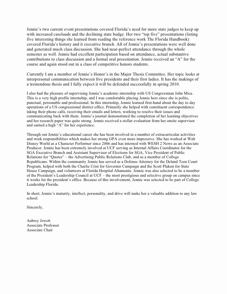Sample Law School Recommendation Letter New Law School Letter Of Re Mendation