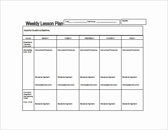 Sample Lesson Plan Template Beautiful Weekly Lesson Plan Template