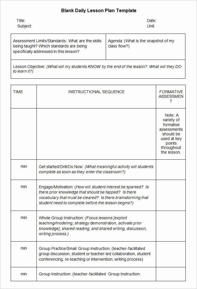 Sample Lesson Plan Template Best Of Blank Lesson Plan Template 3 Free Word Documents