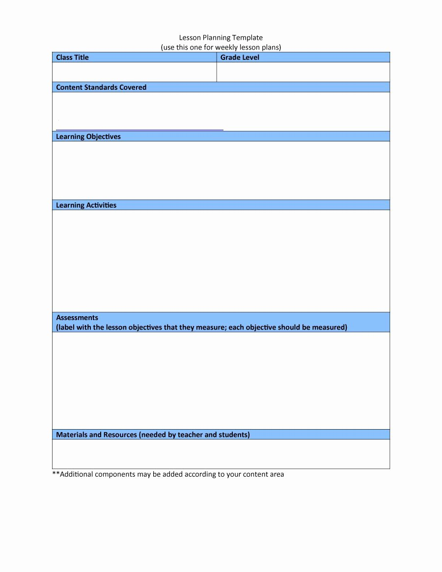 Sample Lesson Plan Template New 44 Free Lesson Plan Templates [ Mon Core Preschool Weekly]