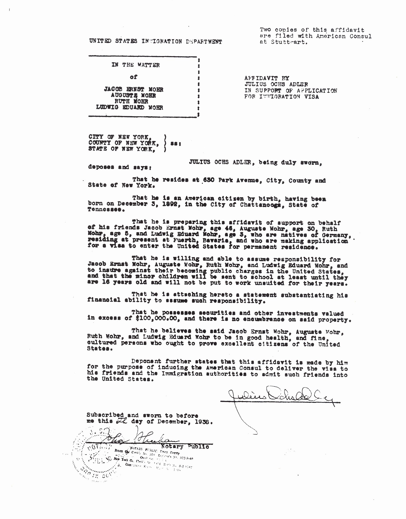 Sample Letter Of Affidavit Of Support Luxury the Mohr Family Immigration and the New York Times