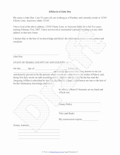 Sample Letter Of Affidavit Of Support Unique Sample Affidavit Free Sworn Affidavit Letter Template