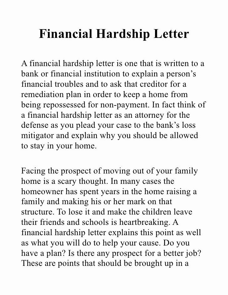 Sample Letter Of Explanation for Bankruptcy Lovely Financial Hardship Letter