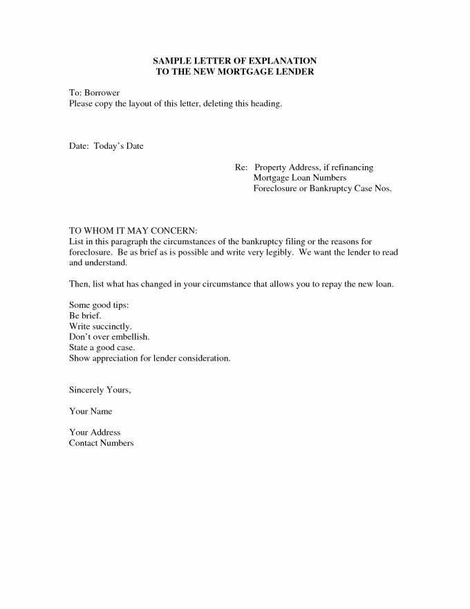 Sample Letter Of Explanation for Mortgage Refinance Best Of 24 Cash Out Refinance Letter Explanation Template