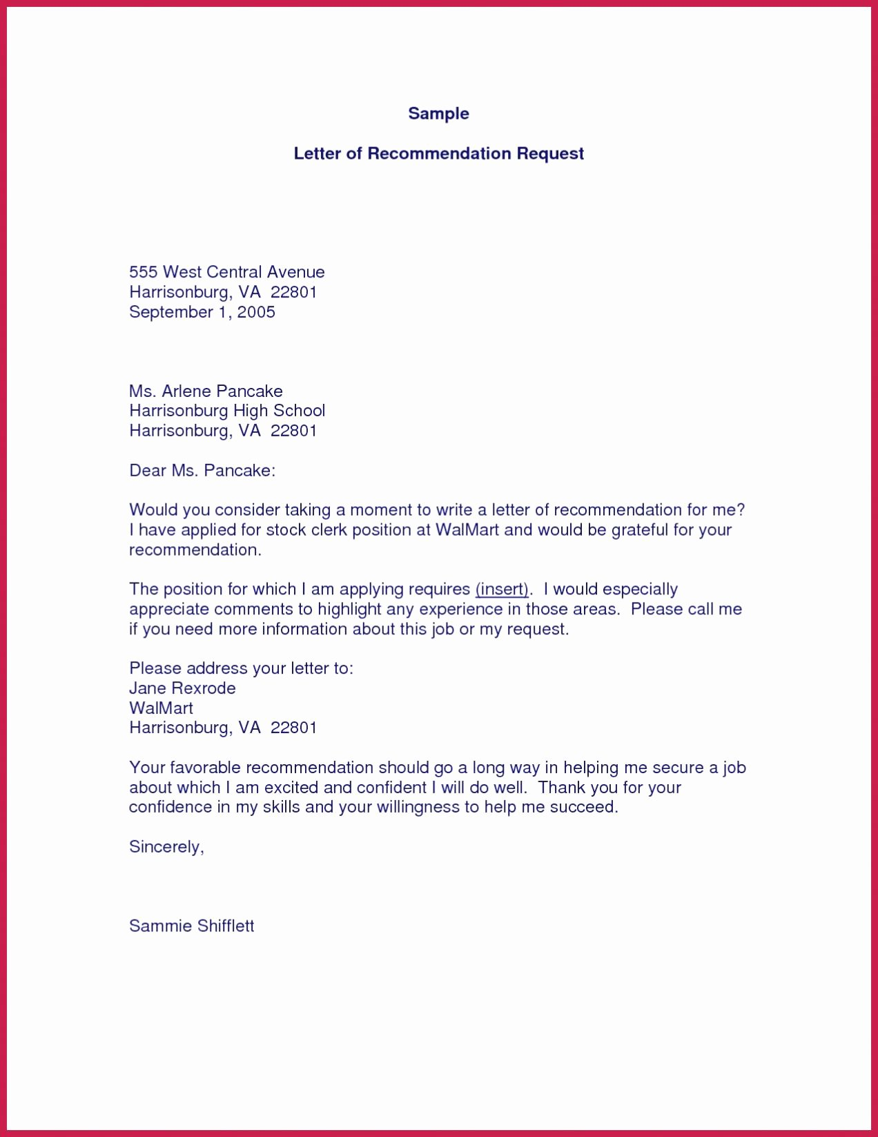 Sample Letter Of Recommendation Request Fresh 5 6 Sample Request Letter