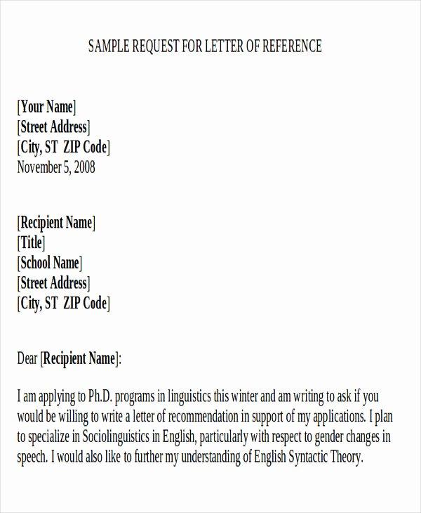 Sample Letter Of Recommendation Request Unique 9 Sample Re Mendation Request Letters