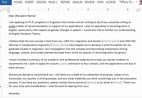 Sample Letter Of Recommendation Request Unique Letter Requesting Graduate School Re Mendation Sample