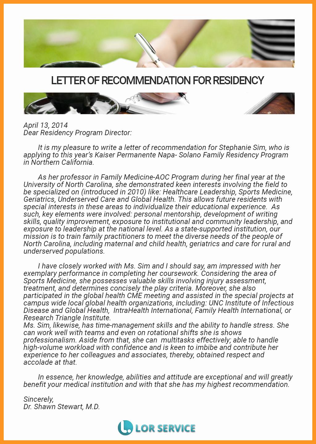 Sample Letter Of Recommendation Residency Awesome Re Mendation Letter for Residency