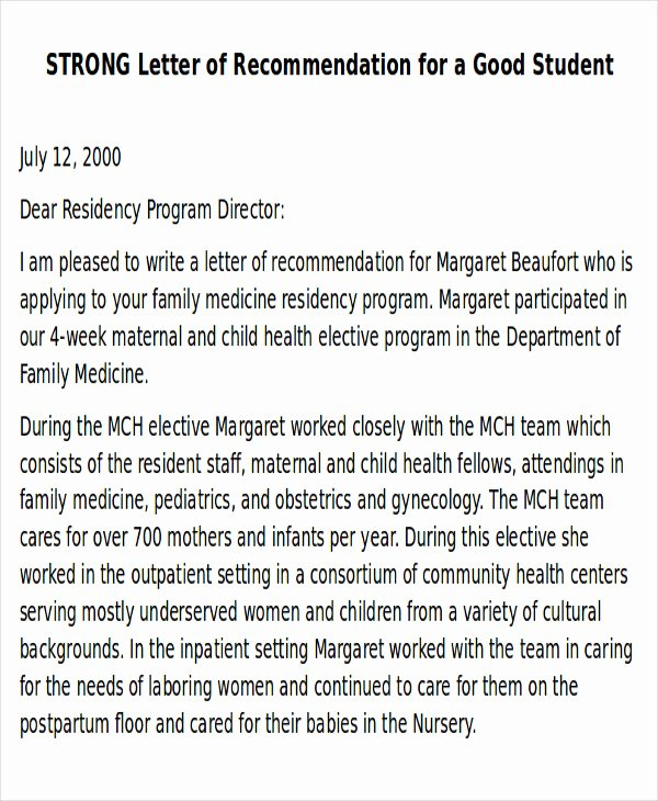 Sample Letter Of Recommendation Residency Best Of 9 Sample Physician Letter Of Re Mendation Word Pdf