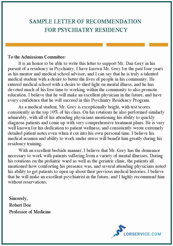 Sample Letter Of Recommendation Residency Elegant Letter Of Re Mendation Psychiatry Residency