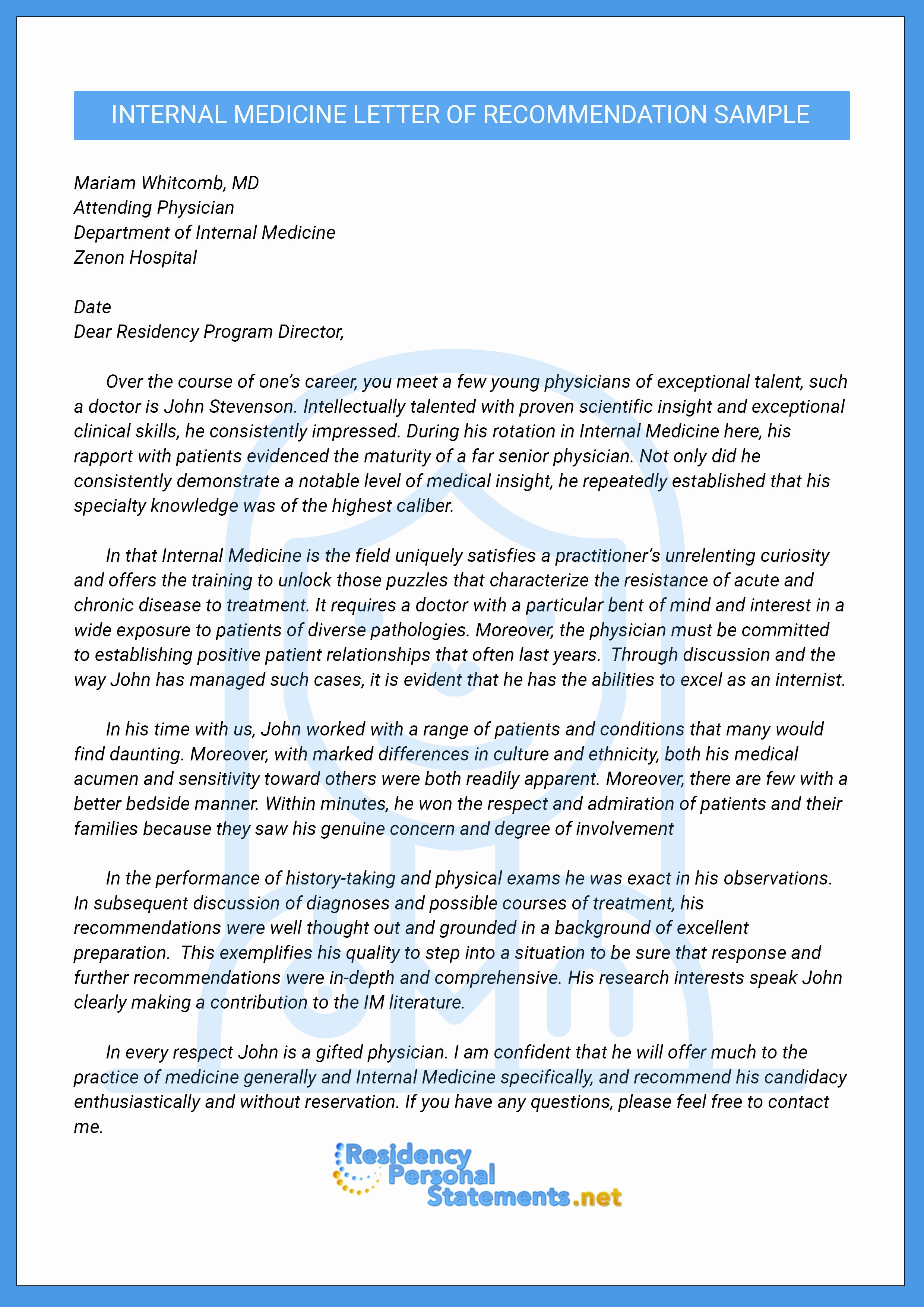 Sample Letter Of Recommendation Residency Inspirational Letter Of Re Mendation for Internal Medicine Residency