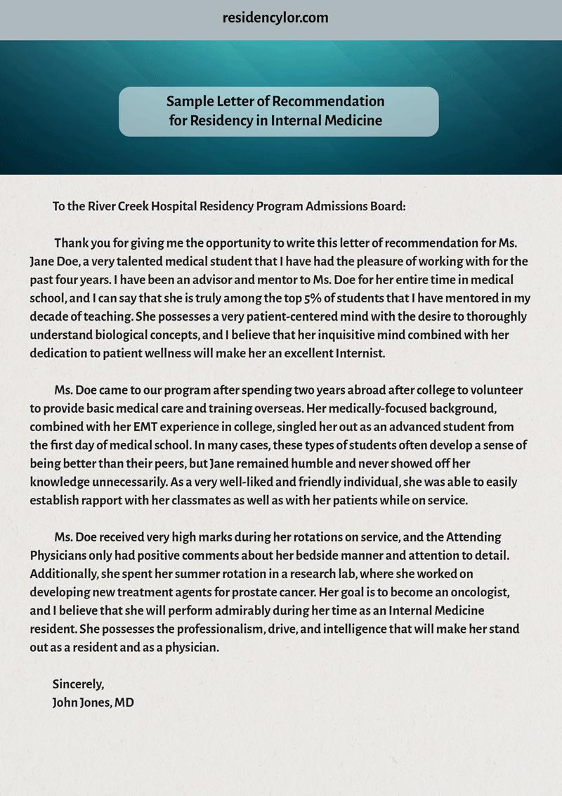 Sample Letter Of Recommendation Residency Lovely Professional Medical Re Mendation Letter for Residency
