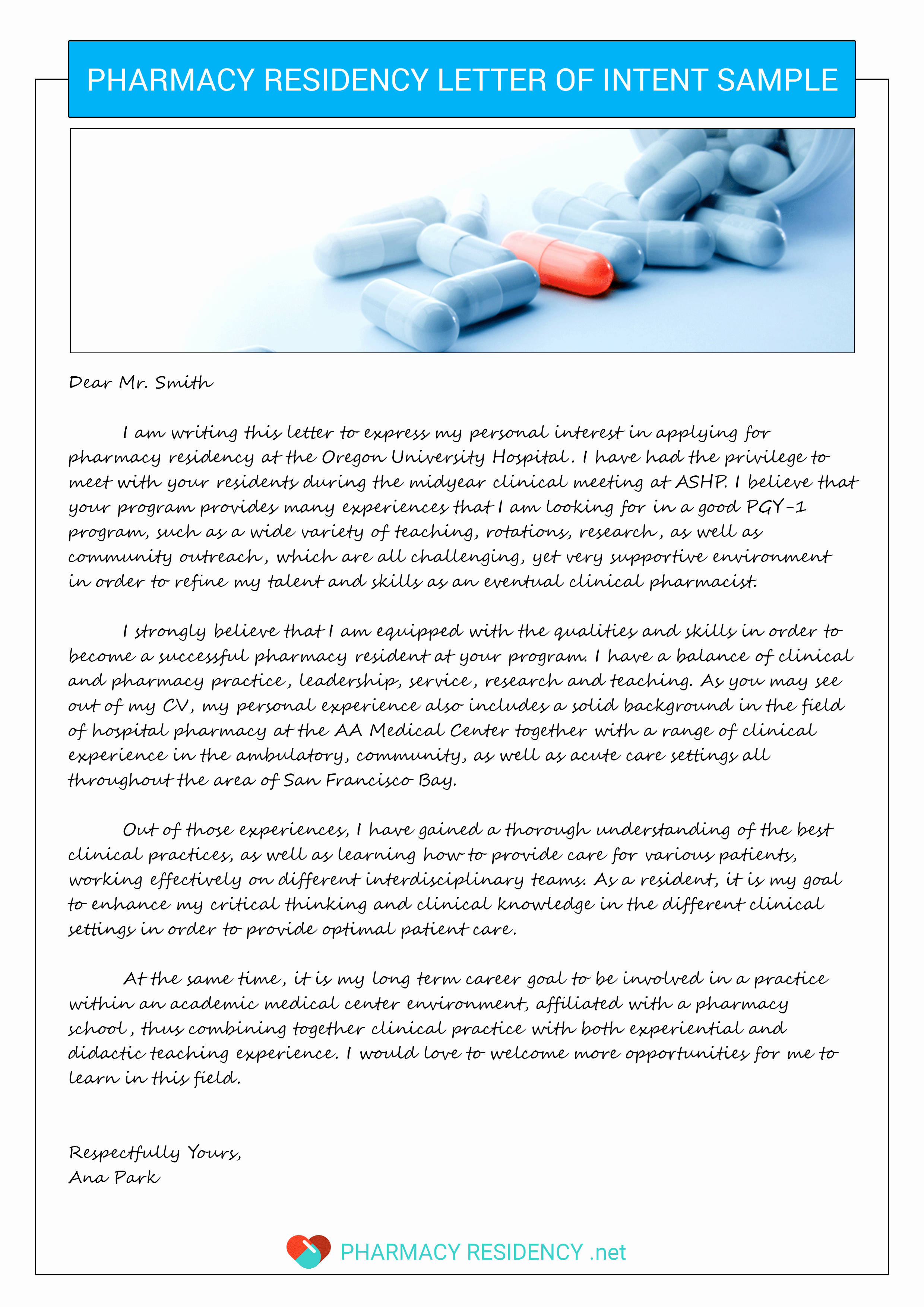 Sample Letter Of Recommendation Residency Unique Pharmacy Letter Of Intent Sample