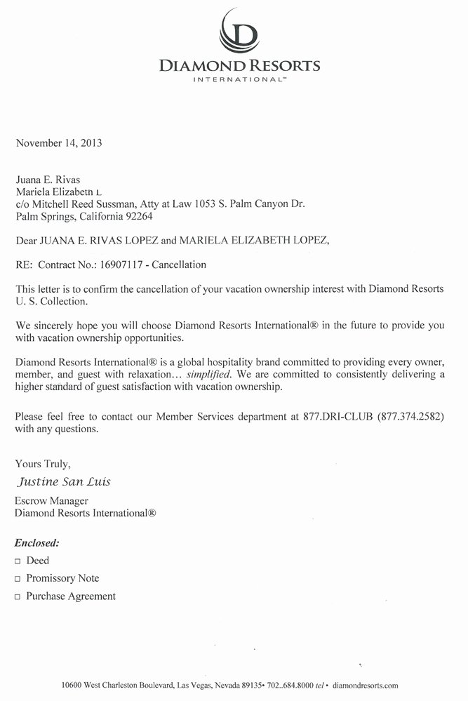 Sample Letter to Cancel Timeshare Contract Inspirational Diamond Resorts2 Timeshare Cancellation