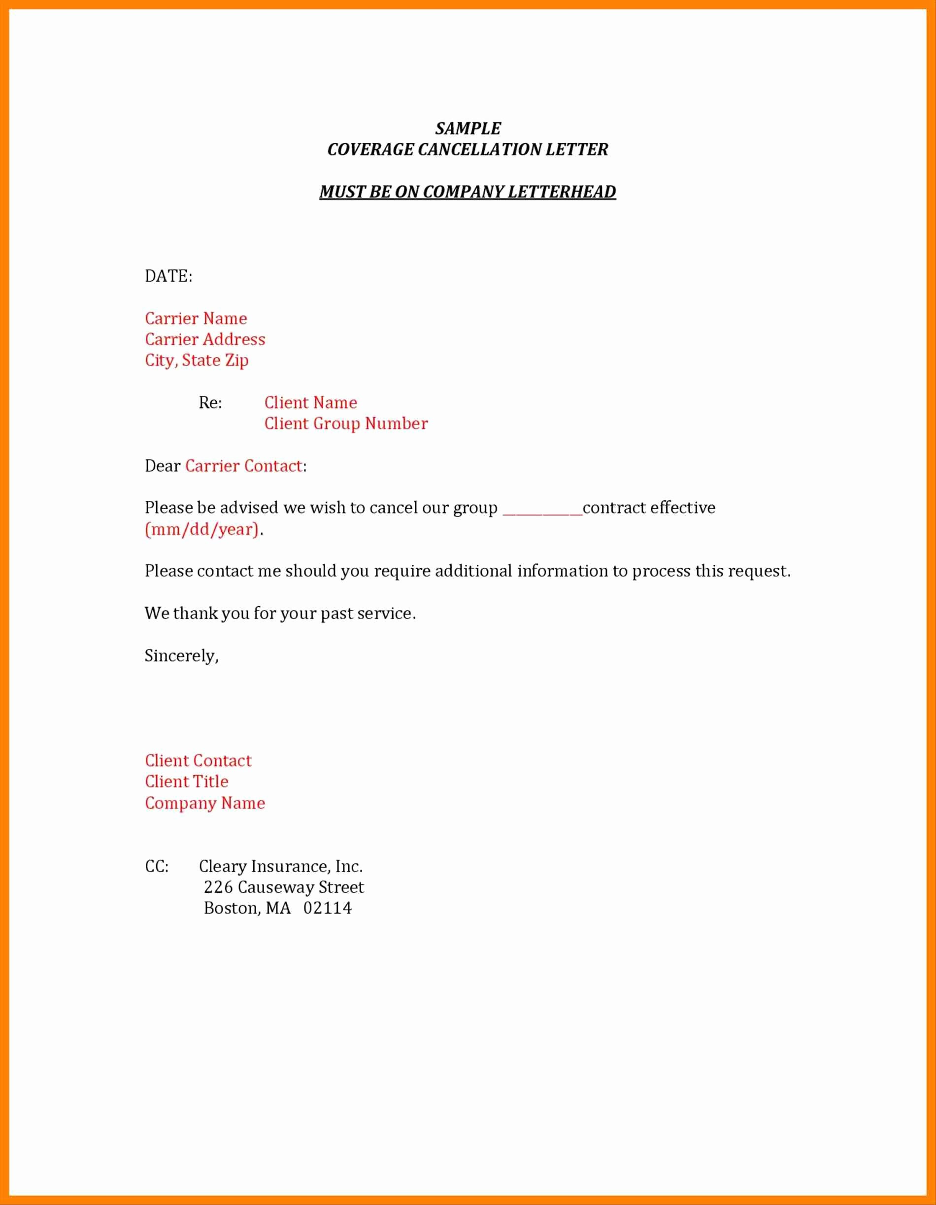 Sample Letter to Cancel Timeshare Contract Inspirational Insurance Cancellation Letter Template Sample