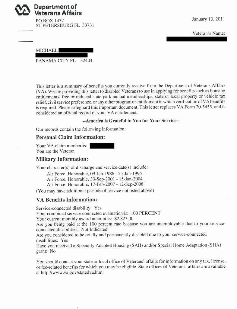 Sample Letter to Va for Disability Best Of New Va Benefits Letter In P&t Permanent & total