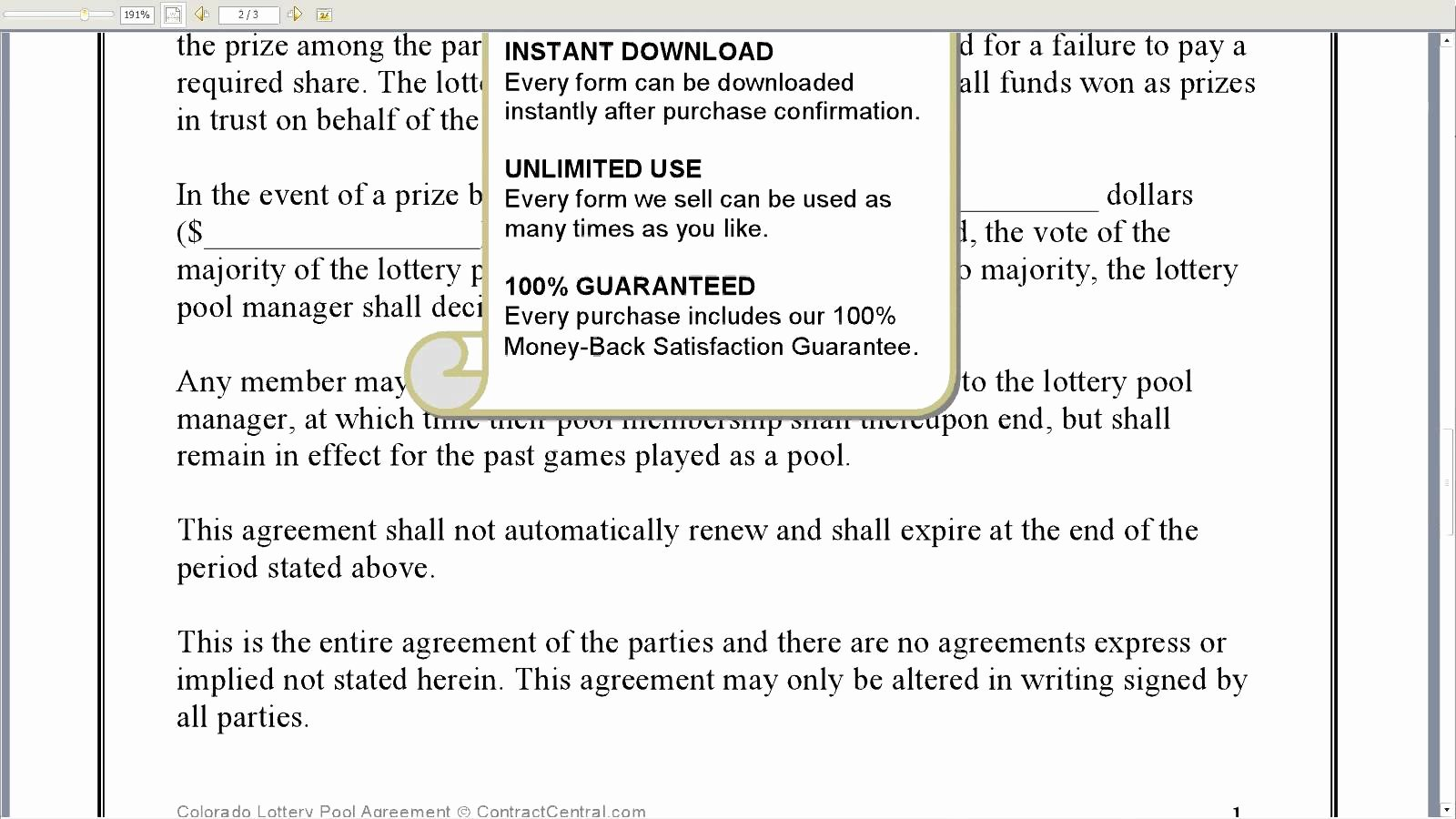 Sample Lottery Pool Agreement Awesome Lottery Pool Contract Free Printable Documents