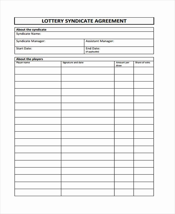 Sample Lottery Pool Agreement Best Of 8 Lottery Syndicate Agreement form Samples Free Sample