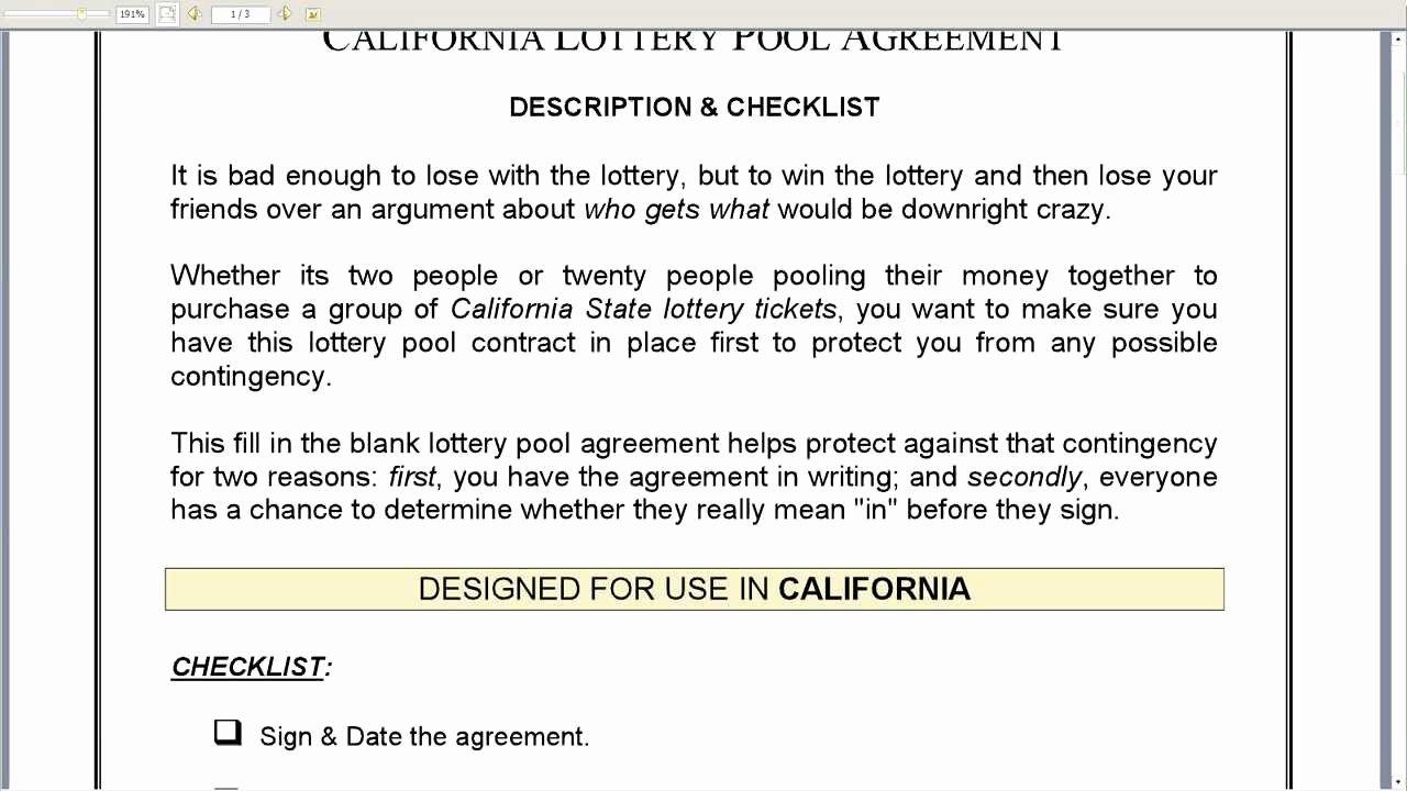 Sample Lottery Pool Agreement Elegant California Lottery Pool Agreement