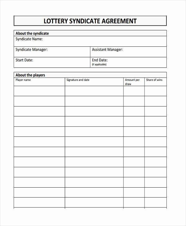 Sample Lottery Pool Agreement Elegant Lottery Syndicate form Template