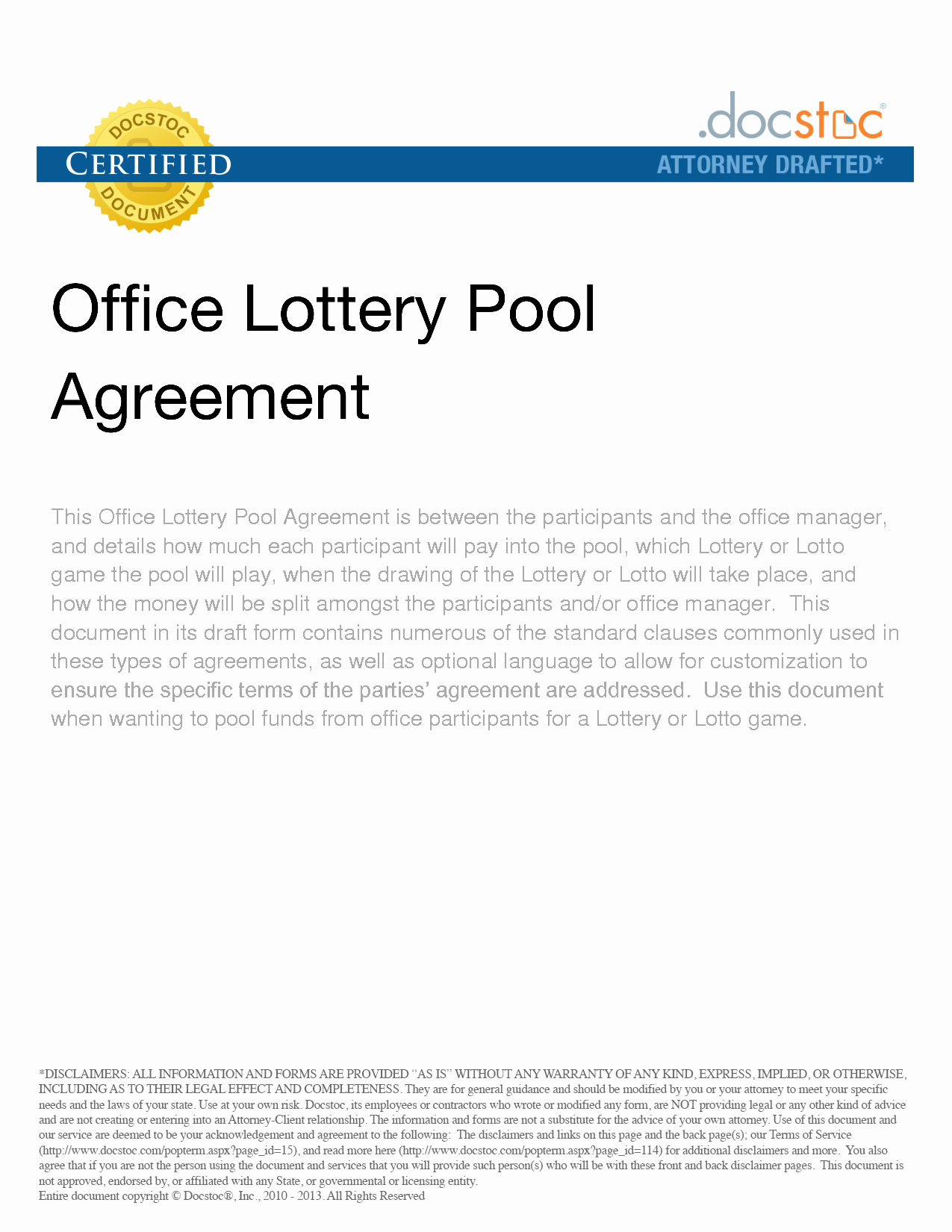 Sample Lottery Pool Agreement Fresh Lottery Pool Contract Free Printable Documents