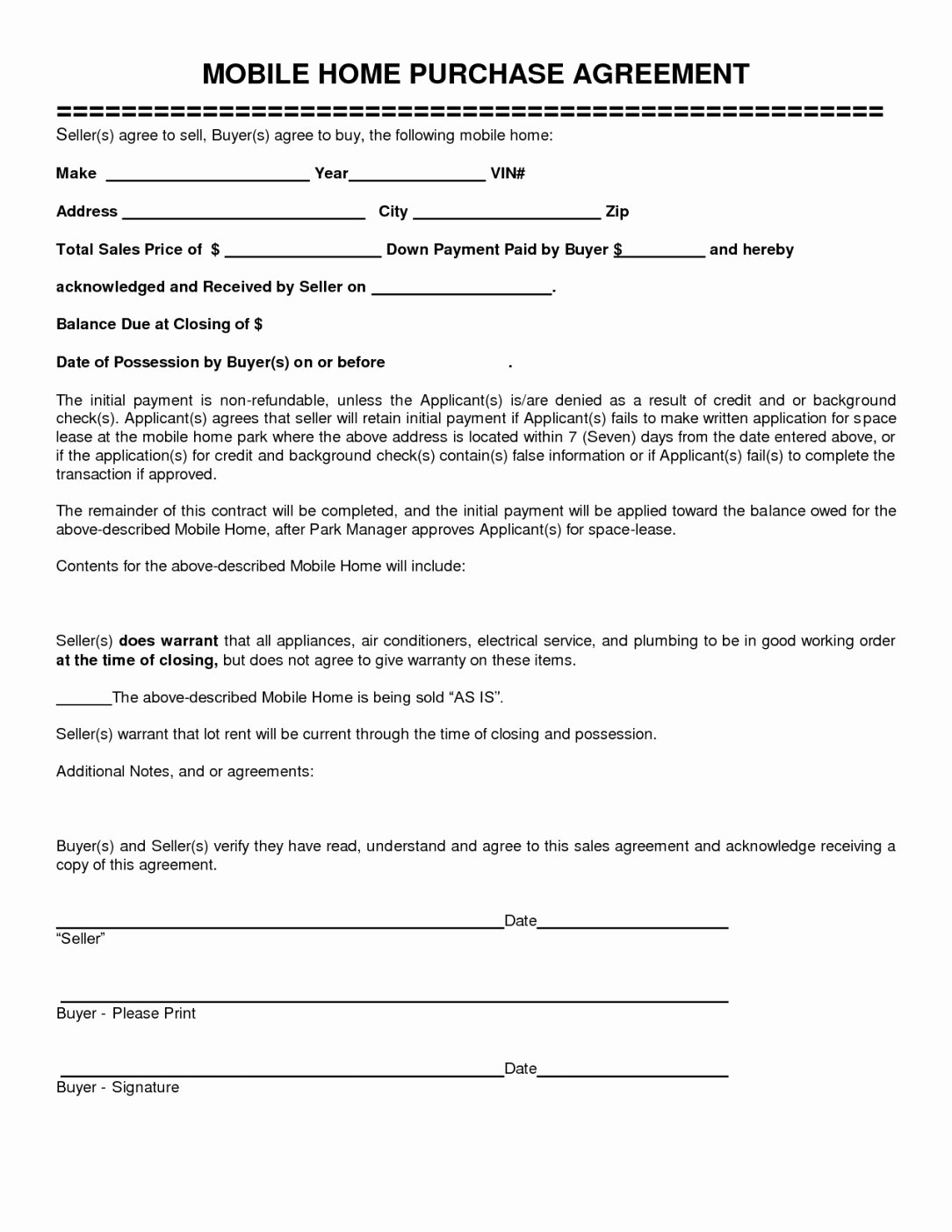Sample Lottery Pool Agreement Fresh Mobile Home Purchase Agreement
