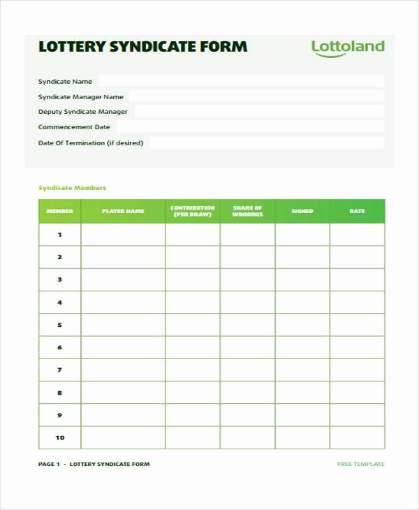 Sample Lottery Pool Agreement Inspirational 8 Lottery Syndicate Agreement form Samples Free Sample