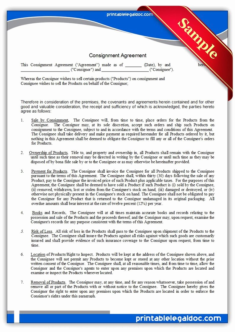 Sample Lottery Pool Agreement Lovely Free Printable Consignment Agreement