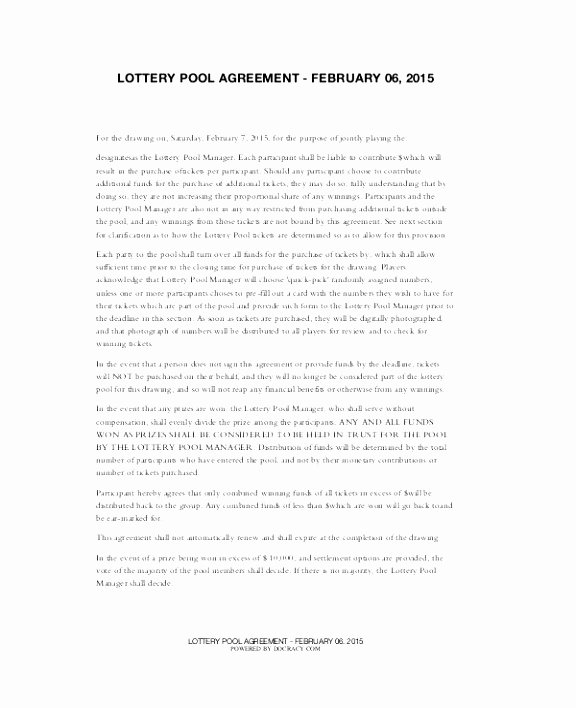 Sample Lottery Pool Agreement Luxury 9 Lottery Syndicate Agreement Template Oiioa