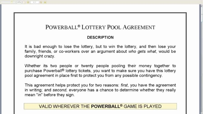 Sample Lottery Pool Agreement New Canadian Lottery Pool Agreement form Templates Resume